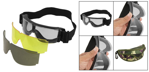 Men Woman Wargame Black Stretchy Band PC Uni-Lens Goggles
