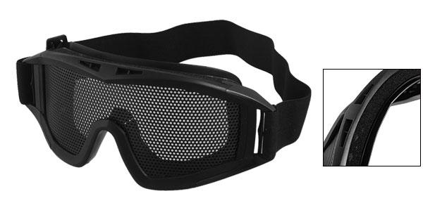 Wargame Unisex Black Elastic Head Strap Plastic Mesh Goggles