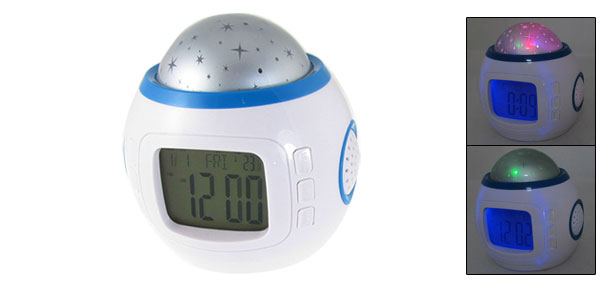 Starry Sky Projection Calendar Function Snooze Alarm Music Clock