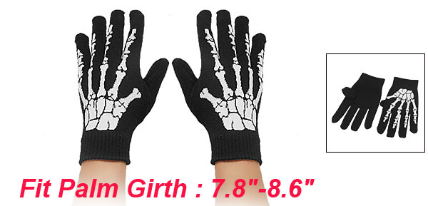 Men White Hand Bone Pattern Black Knitting Full Finger Warm Gloves