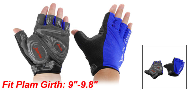 Men Assorted Colors Nonslip Palm Elastic Fingerless Cycling Gloves Pair