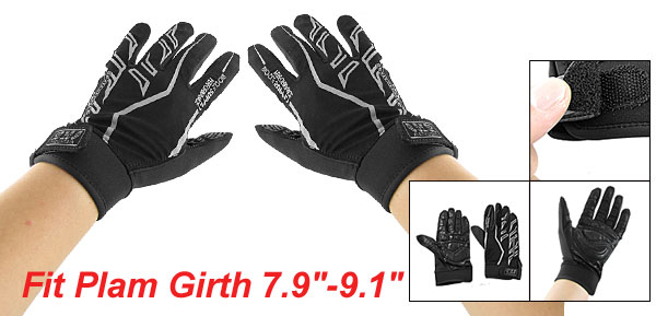 Man 2 Pcs Black Nonslip Palm Mountain Bike Driving Full Finger Gloves