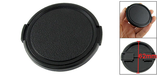 62mm Side Pinch Clip On Front Protection Lens Cap Cover Black for Camera Filters