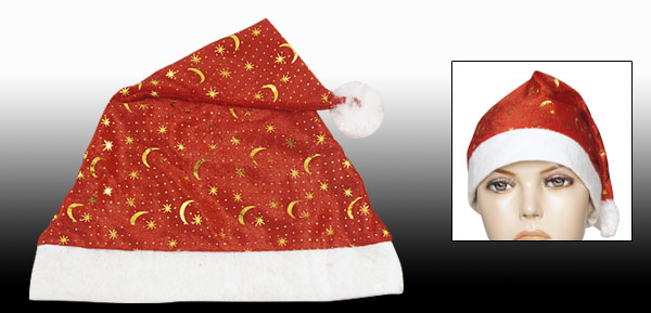 Christmas Gold Tone Stars Moon Pattern Red Santa Claus Hat for Adult