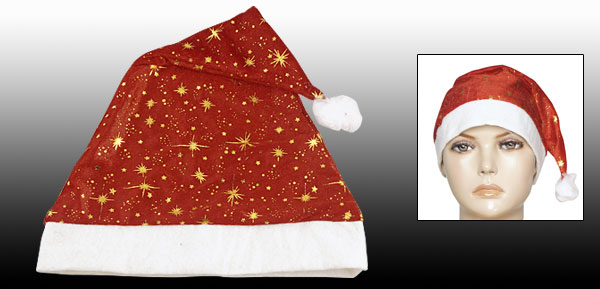 Christmas White Fleece Hem Red Velvet Santa Claus Hat for Adult
