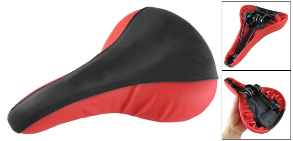 Mountain Bicycle Bike Red Black Faux Leather Cover Seat Saddle