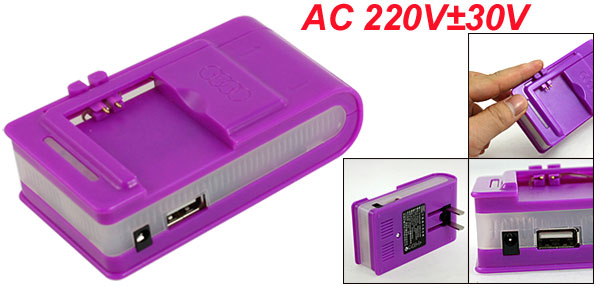 Purple 2 Flat Pins USB 2.0 Port Universal Battery Wall Charger