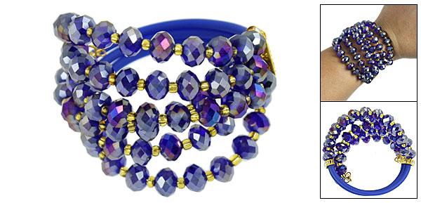 Rhinestone Decor Faux Faceted Crystal 3 Layers Bracelet Indigo for Women