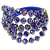 Rhinestone Decor Faux Faceted Crystal 3 Layers Bracelet Indigo fo...