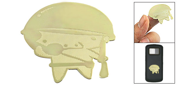 Phone MP3 Gold Tone Pig Soldier Sticker Decoration