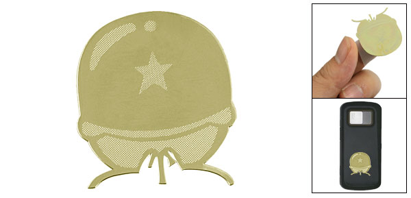 Gold Tone Soldier Hat Sticker Decor for Cell Phone