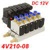 "DC 12V 5/16"" Quick Fitting 2 Position 5 Way 5 Solenoid Valve w Ba..."