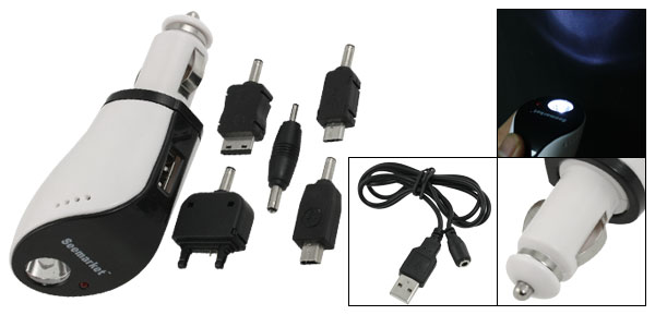 White LED Flashlight USB Mobile Phone Car Charger w 5 Adapter Kit