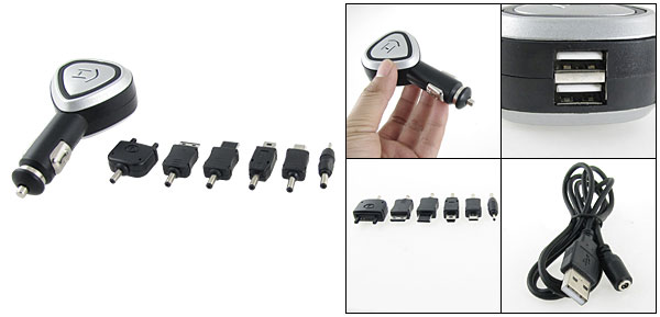 Double USB Port MP3 MP4 Mobile Phone Car Charger Kit + 6 Adapters Kit