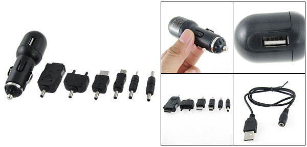 Universal USB Mobile Phone Car Charger Black + 6 Adapters Kit