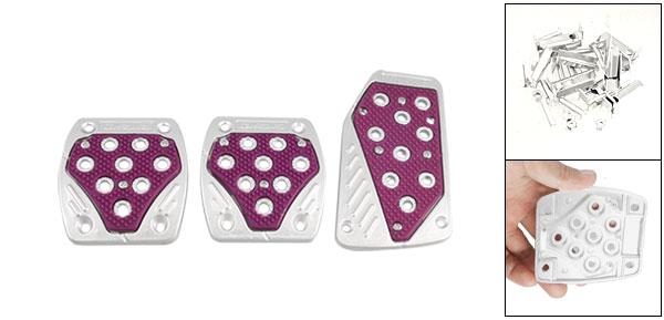 Amaranth Silver Tone Aluminum Plastic Nonslip Pedal Cover Set for MT Car