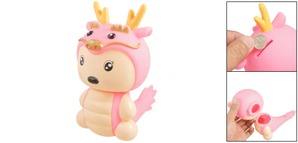 Cartoon Pink Dragon Design Plastic Coin Bank Box Holder