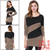 Allegra K Woman Long Batwing Sleeve Bar Striped Shirt Light Coffee Black S