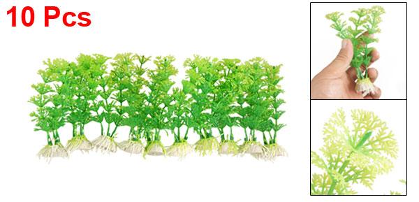 Fish Tank Aquarium Green Plastic Decorative Grass Plants 10 Pcs