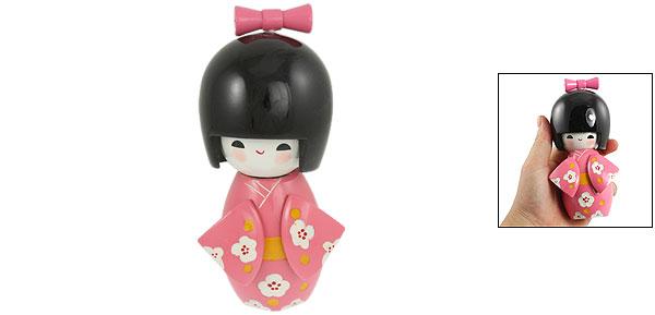Bowtie Decor Smiling   Pink Kimono Japanese Kokeshi Doll Toy