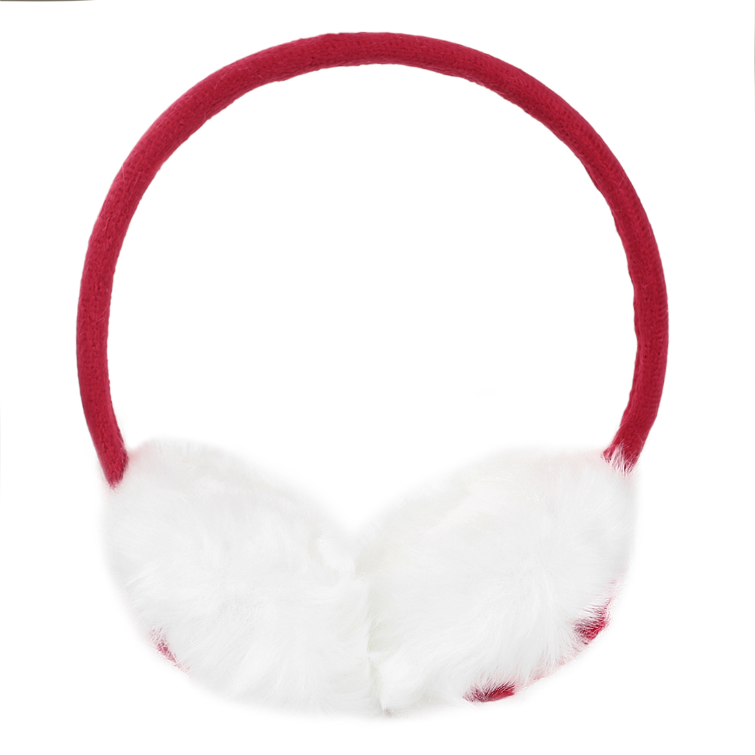 Knitted Rose Detailing Faux Fur Earmuffs Red for Ladies