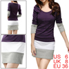 Allegra K Women Scoop Neck Long Sleeve Bar Striped Hem Tunic Dress Purple S