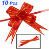 10 Pcs Gold Tone Red Gift Wrapping Pull Bow Flower Ribbons
