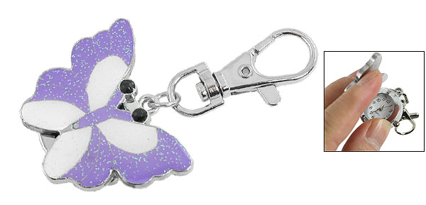 Purple White Butterfly Hunter Case Lobster Clasp Keyring Watch