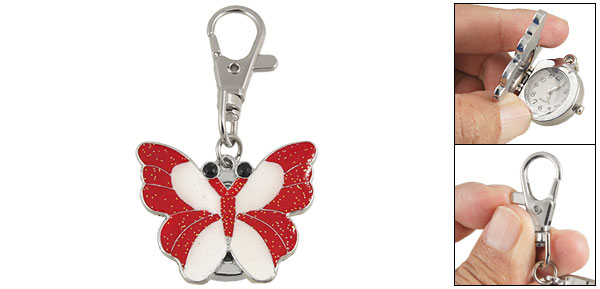 Red Butterfly Design Arabic Number Watch Metal Lobster Clasp Key Chain