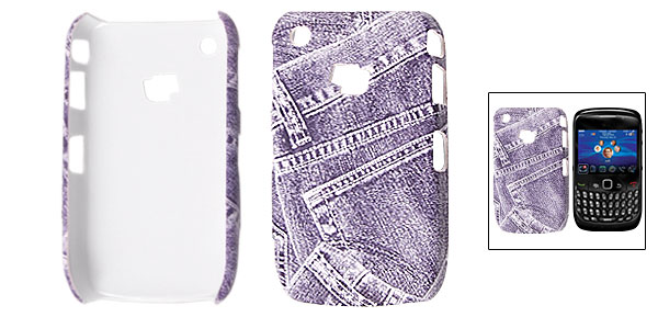 Purple Faux Leather Coated Plastic Jean Style Cover for Blackberry 8520