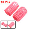 10 Pcs Hairdressing Hair Curling Tool Pink Plastic DIY Roller Cur...