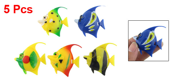 5 Pcs Colors Plastic Surgeonfish Tropical Fish Aquarium Decor