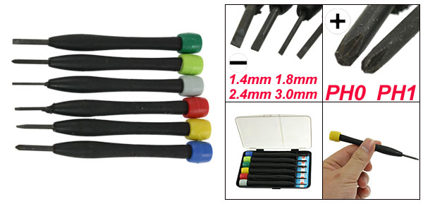 6 Pcs Black Plastic Handle Slotted Phillips Tip Watch Repair Screwdrivers Set