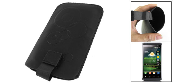 Circle Prints Black Faux Leather Pouch for LG Optimus 3D P920