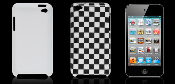 White Black Check Pattern Hard Plastic IMD Back Case Cover for iPod Touch 4