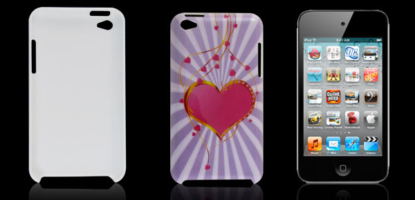 Fuchsia Heart Light Purple Hard IMD Back Case Cover for iPod Touch 4