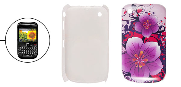 IMD Purple Flower Print Hard Plastic Back Case for Blackberry 8520