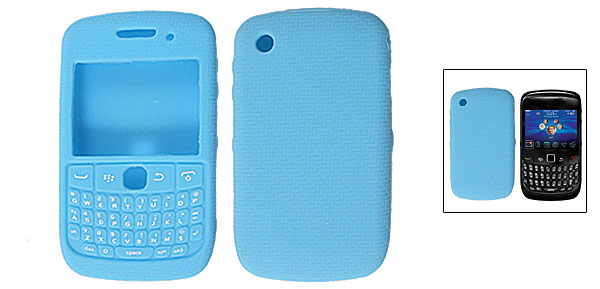 Zigzag Print Silicone Cyan Protective Case for Blackberry 8520
