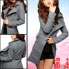 Woman Button Epaulette Double Breasted Worsted Tre...