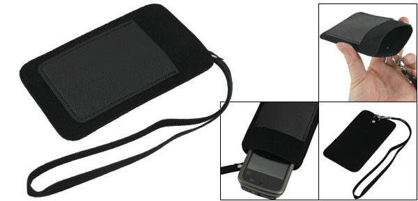 Black PVC Faux Leather Pouch 2 Compartments Holder for iPhone 4 4G 4S