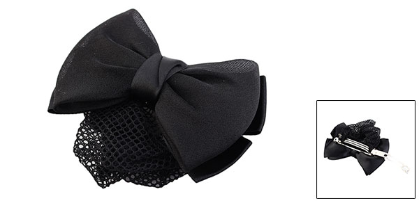 Office Lady Polyester Bowknot Spring Loaded Barrette Snood Net Hair Clip Black