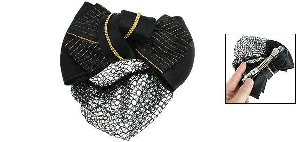 Women Snood Net Barrette Gold Tone Beads Decor Black Hair Clip