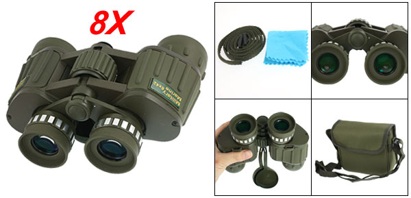 Army Green BAK4 Magnification 8X Folding Binoculars w Bag