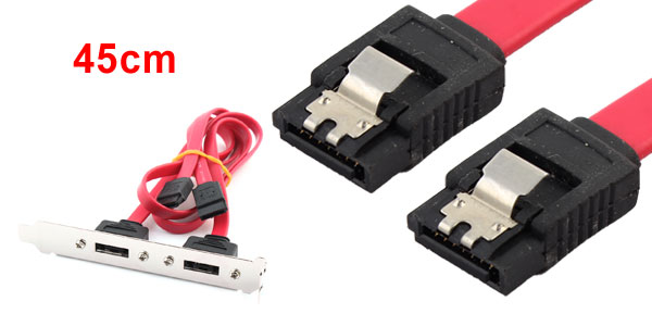 45CM Red Serial ATA to 2 Ports eSATA Connector Bracket