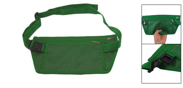 Side Release Buckle Green Nylon Ultra Flat Waist Pack Bag for Men