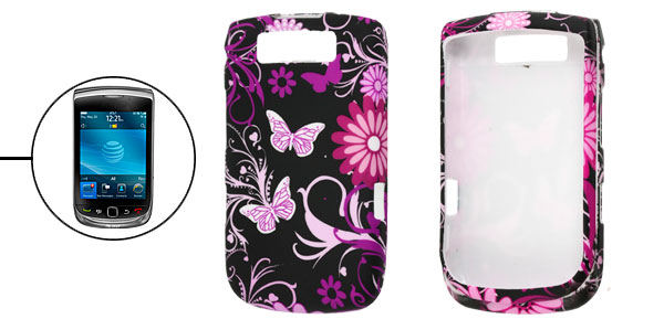 Fuchsia Flower Black Hard Plastic Case for Blackberry 9800