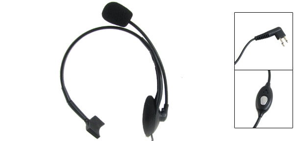 1.2M Cable Single Ear 3.5mm 2.5mm 2 Pin Plug Headset Black for Motorola Radio