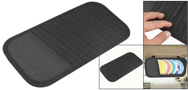 Elastic Band Back Visor CD Ticket Cards Holder Storage Case Black for Car