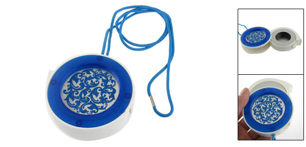 White Blue Floral Round Cigarette Ash Holder Case Neck Strap Ashtray