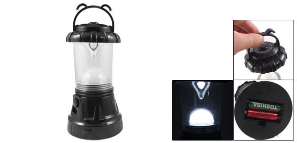 Black Plastic Shell Portable 10 LEDs Lamp Lantern White Light for Outdoor Camping